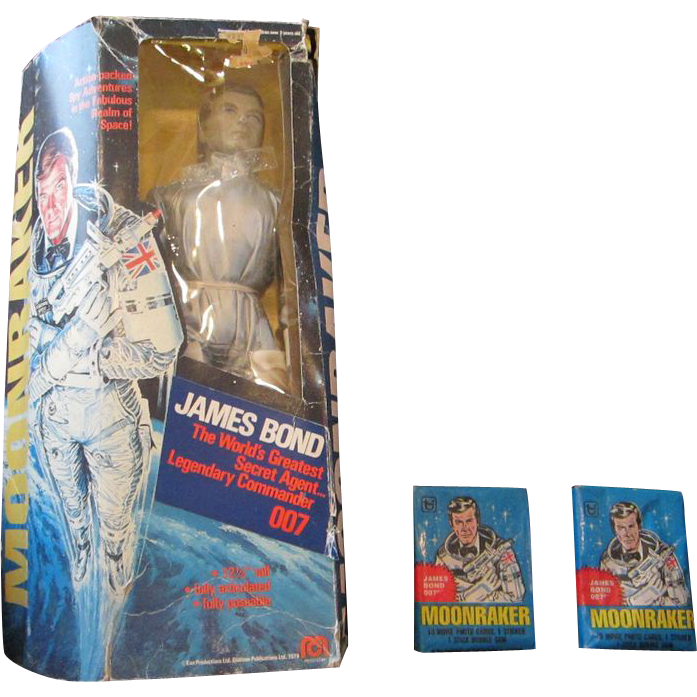 Moonraker doll and packs of cards 1978 Mego corporation James Bond