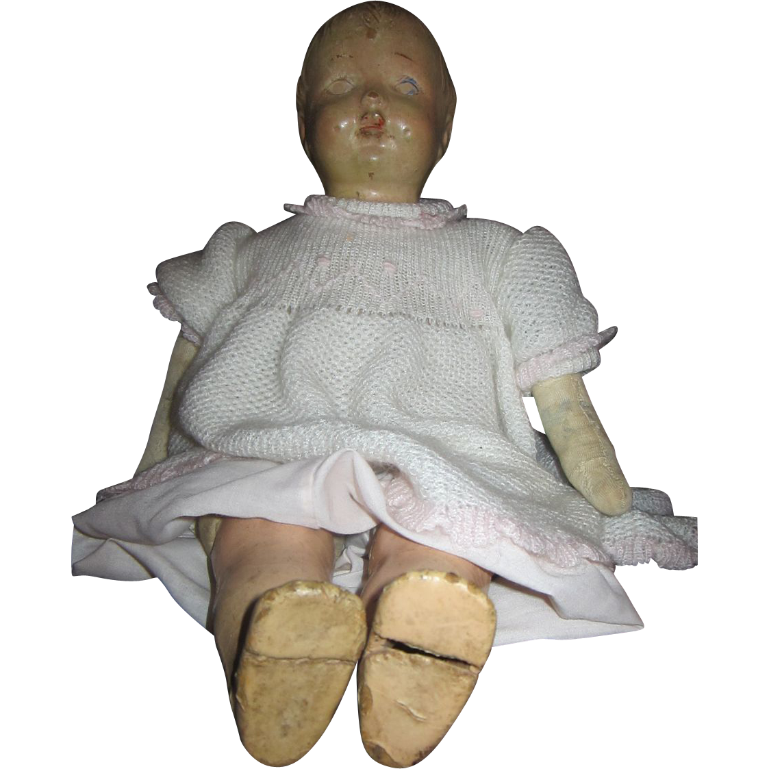 Vintage cloth bodied doll with painted face 18""