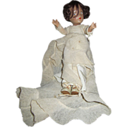 Vintage wedding dress composition doll unmarked oil cloth shoes 11""