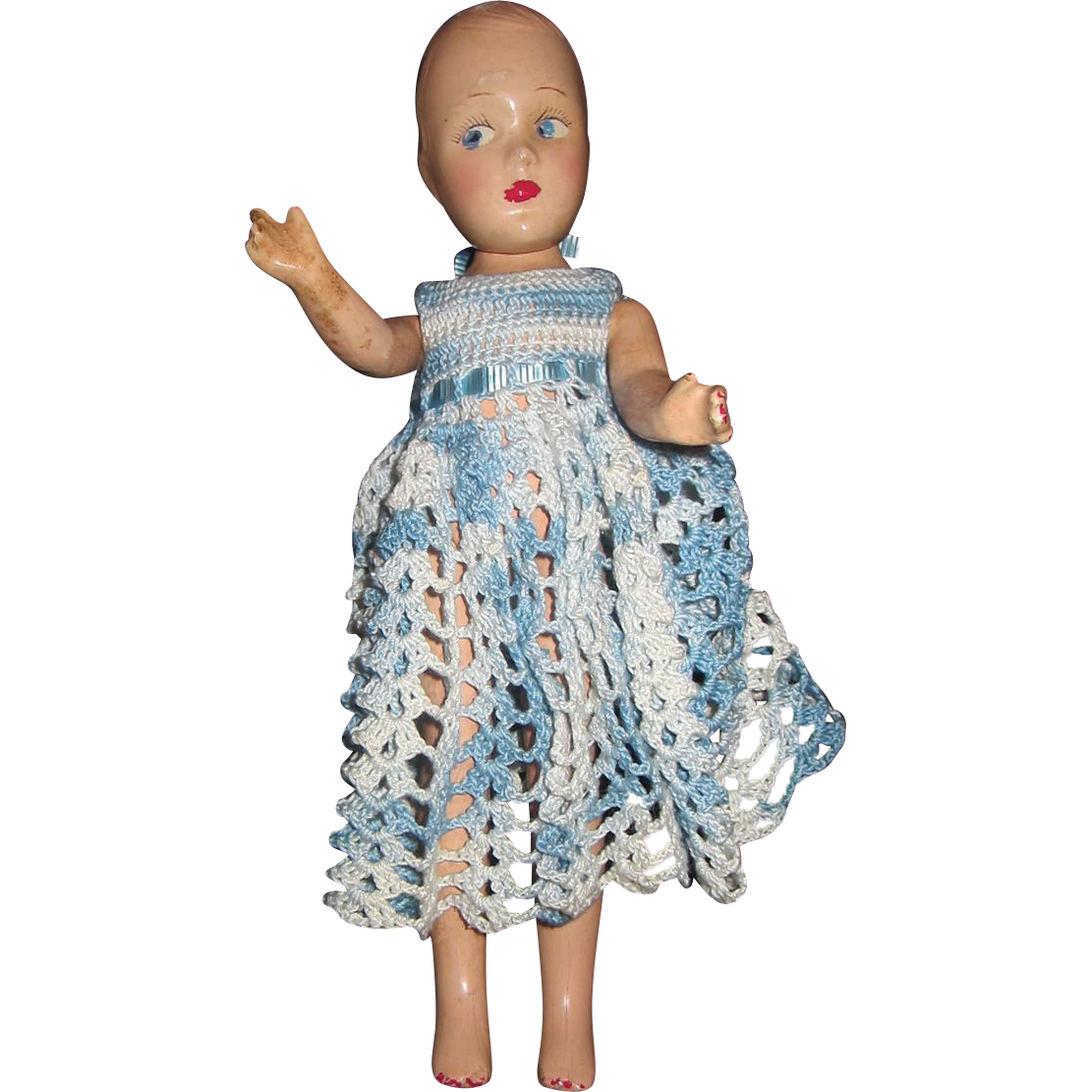 """Old composition 11"""" doll with painted face"""