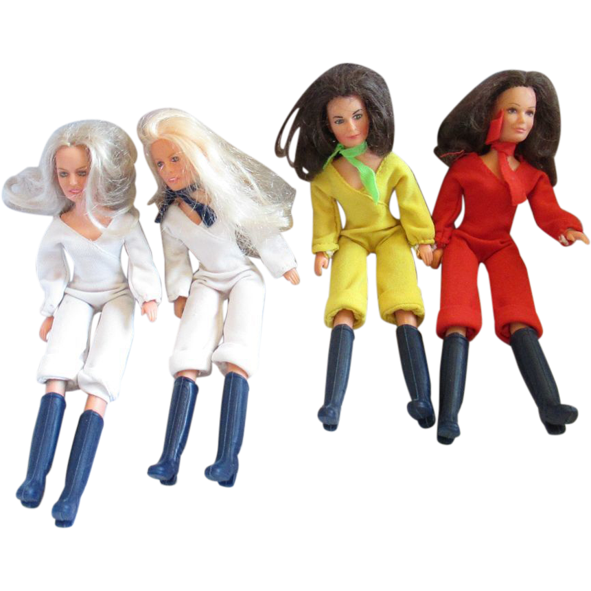 Charlie's Angels vintage dolls Grouping of 4 inlcuding Farrah Habsro