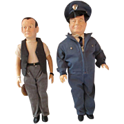 2 Honeymooners Dolls Jackie Gleason Ralph Kamden and Art Carney TV characters