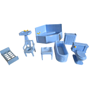 Vintage light blue plastic dollhouse furniture