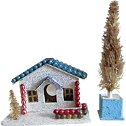 Vintage putz scene house with mercury bead trim 1950's holds c-7 bulb tree ornament or display