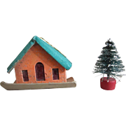 Miniature Putz era feather tree ornament house with brush tree