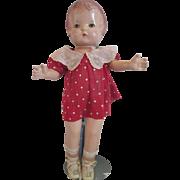 """1930's Effanbee Patsy Joan composition doll in original dress 16"""" TLC"""