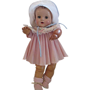 """19"""" Magic Skin baby doll adorable in pink vintage 1950's latex rubber"""