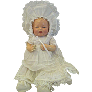 """1924 Composition and cloth BABY   Bubbles  by Effanbee in Christening Gown 17"""""""
