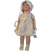 "Vintage Effanbee BABY DAINTY doll 1925 all composition 14.5"" old dress"