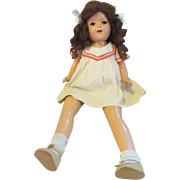 """IDEAL Googly eye side glancing large mohair baby doll in original dress 23"""" long"""