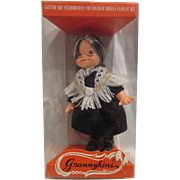 1974 Vintage Uneeda Granny-kins doll all original grandmother doll in case with shawl! Mint