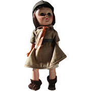 Uneeda Small brownie scouting doll in original outfit missing one shoe!