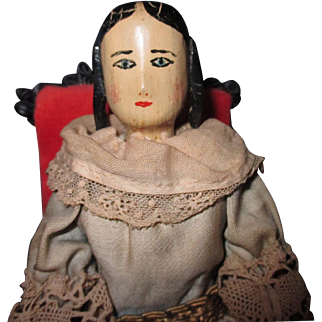 circa 1938 Wooden all original peg doll with braids in hair red shoes 8-1/2