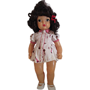 "17"" Vintage Terri Lee doll in tagged bunny dress black hair original"