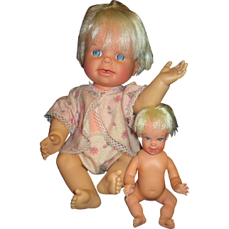 Vintage Mattel Cheerful Tearful 1965 and Baby Cheerful Tearful pouty face changing dolls.
