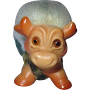 "Rare troll doll  Dam things miniature COW BULL  with blue hair 1960's  2.5"" by 3"""