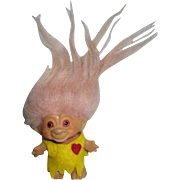 "Vintage Dam Troll miniature doll 3.5"" in yellow  dress pink hair 1964"