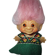 "Pink haired Dam troll doll 1964 miniature 2.5"" green dress cute!"