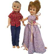 "Jeff and Jill Vogue couple 10"" dolls from the 1950's"