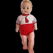 "23"" Playpal style boy doll marked AE on head vinyl sleep eyes lightweight 1960's"