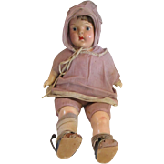 """22"""" Old 1930's composition and cloth doll unknown maker TLC needed  lavender outfit"""
