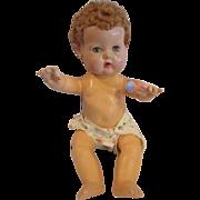 "11"" Effanbee Dy-Dee Baby caracul wig applied ears Great condition 1950's dydee"