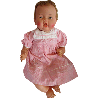 "Ideal 1962/63 ~ RARE 20"" Bouncing BABY COOS Doll Still cries adorable"
