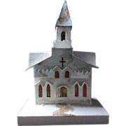 "1940's Putz Village Church cathedral Christmas display 12"" tall Glitter mica"