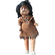 Very old Native American doll, Shoulder composition, stuffed straw cloth body, compo arms and legs original dress