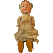 Antique Baby doll composition molded bonnet with tie  MAMA crier doll original clothing very HARD to find mute