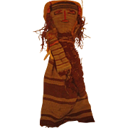 """Old Peruvian Burial Doll Textiles from ancient times 10"""" with child"""