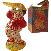 Old Wind up Clown toy by Irwin BIMBO  plastic spins umbrella working partial box too