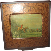 Very old Nice Tobacco Humidor with Horse theme on front Deco style box Mahogany copper mottled look