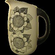 Finel Sunflower mod enamel pitcher black and white Arabia Finland Kaj Franck