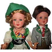 "Celluloid/Plastic Bavarian German couple dolls GURA  12"" tall"