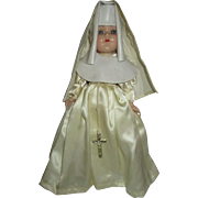 "12"" vintage White Nun doll Catholic 1950's with crucifix at waist cloth and plastic habit"