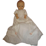 Hard Plastic Baby in Christening gown super cute 7""