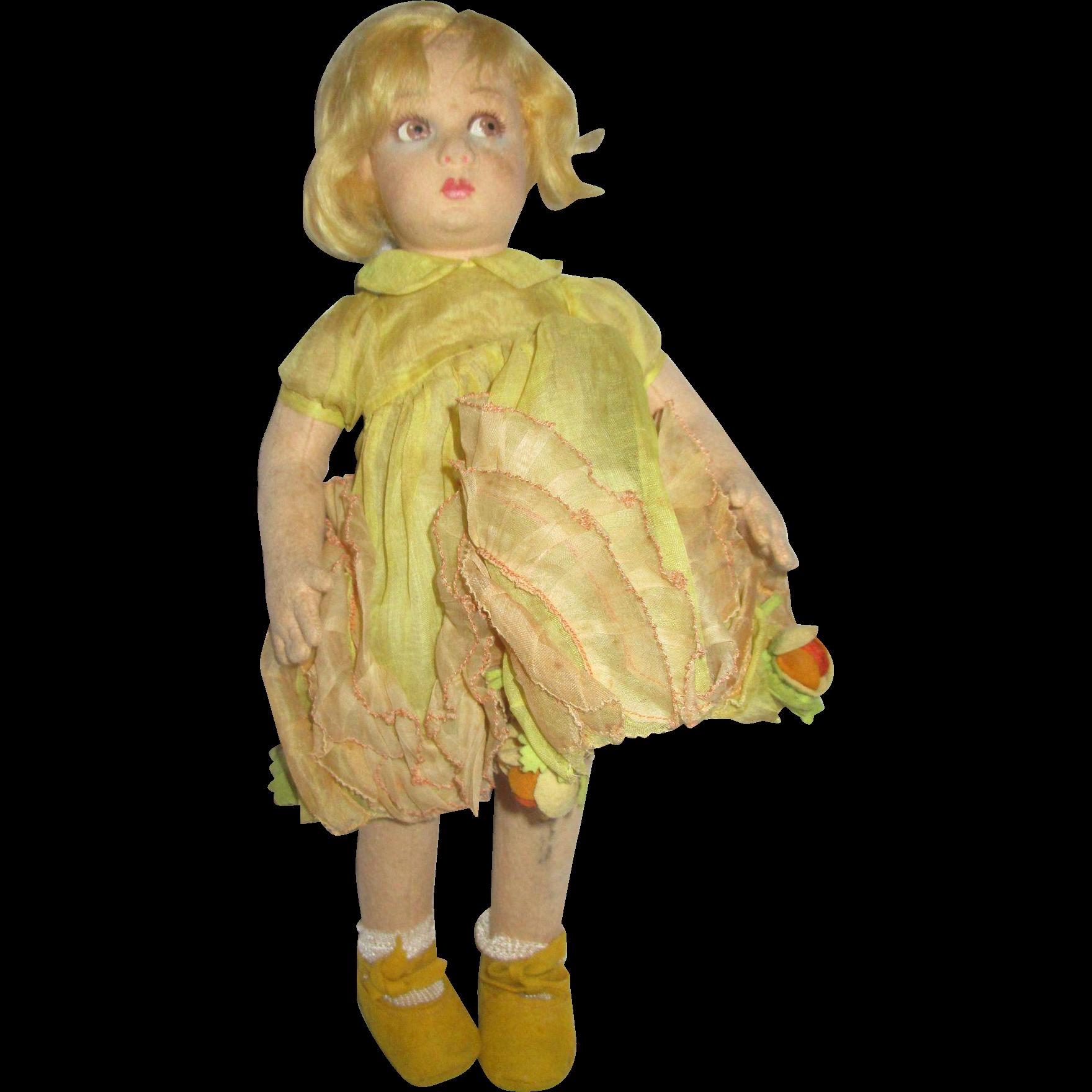 Lenci doll pouty girl in original dress cloth Italia Italy Bambola all original 1930's