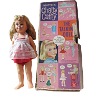 VINTAGE CHATTY CATHY DOLL Mattel with box mute original dress