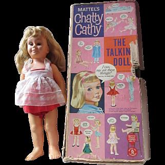 VINTAGE CHATTY CATHY DOLL Mattel with box mute original dress