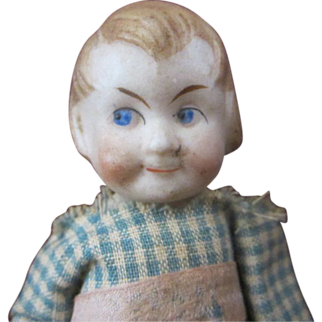 """Vintage Germany Limbach 4"""" miniature googly eyed angry bisque doll"""