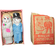 "1940's Bride and Groom bisque cutie dolls 2"" tall"