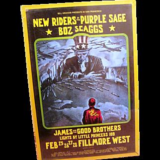 Riders of the Purple Sage Concert poster Bill Graham 1971 original Uncle Sam