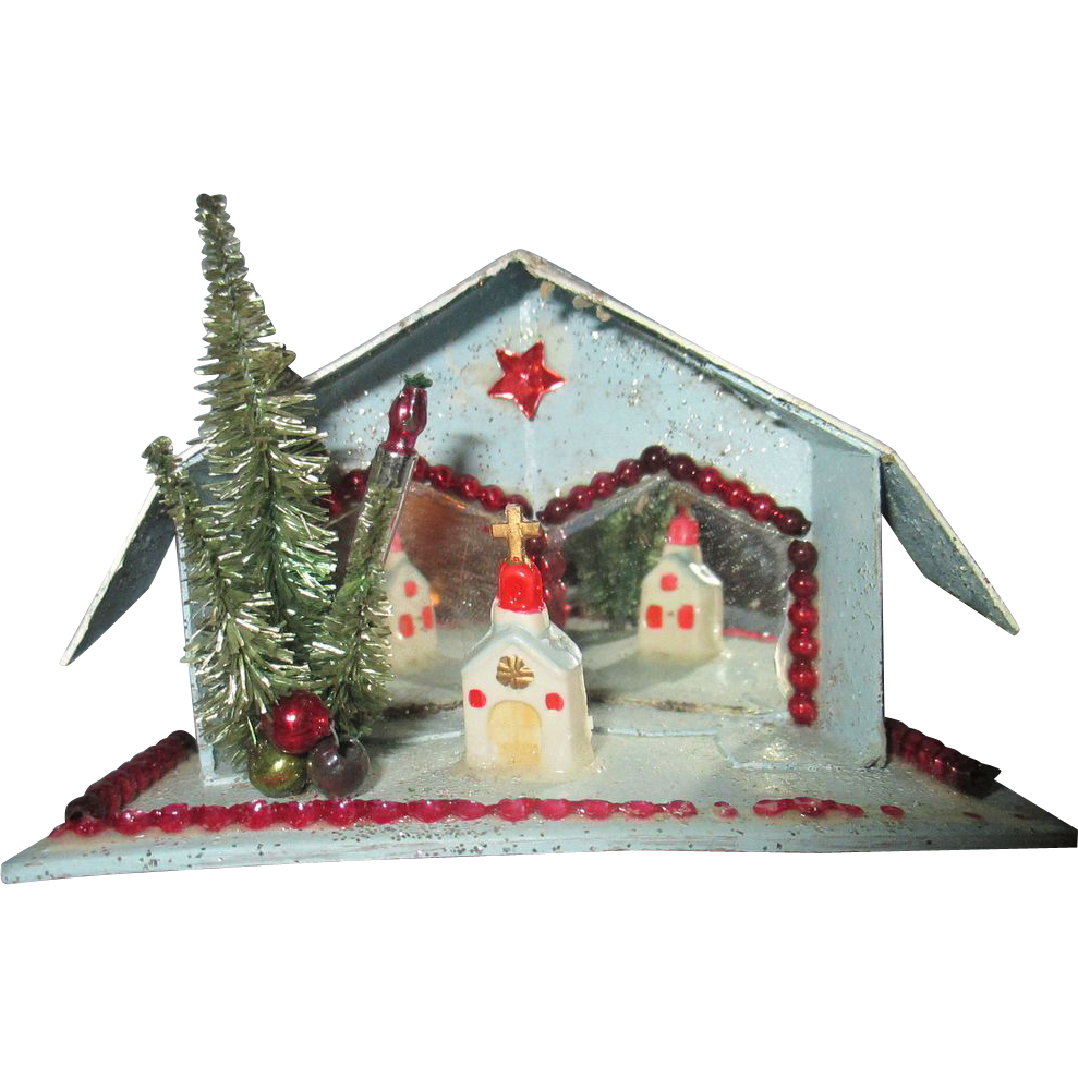 1940 39 s christmas putz scene cottage mica mirrored church for 1940s decoration