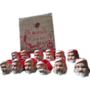 Vintage store display box of Santa Claus wax candy holder cups