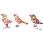 3 vintage colored mirrored mosaic bird ornaments for Christmas