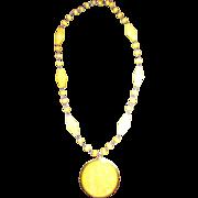 Lemon Yellow Sun Pendant Necklace plastics medallion retro jewelry