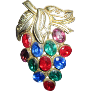Vintage Grape Cluster Fruit Salad Rhinestone brooch pin lovely unsigned