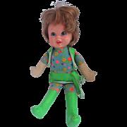 """Vintage 1970 MATTEL Talking Twins baby Small Talk mod doll still  works talking 12"""""""