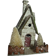 Christmas putz mica covered house with brush trees ornament or display piece pretty
